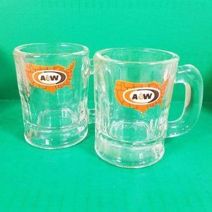 A&W Root Beer Mugs with USA Logo Small Mini 2 pc